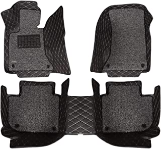 AOYMEI Car Floor Mats for 2012-2018 Dodge Ram Double Layer Leather Fully Surrounded Removable Wire Loop All-Weather Waterproof Car Mats (Black 1)