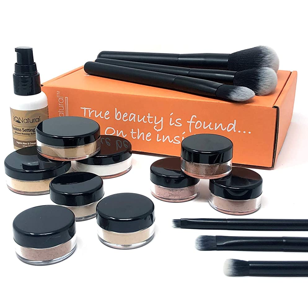 Premium 16 Piece Large Mineral Makeup Kit (Select Shade) - Concealer, Bronzer, Eye Shadow, Setting Powder, 2 Full Size Mineral Foundation, Primer - Create A Natural Flawless Look