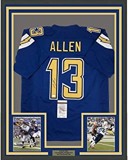 Framed Autographed/Signed Keenan Allen 33x42 Los Angeles LA Chargers Color Rush Football Jersey JSA COA