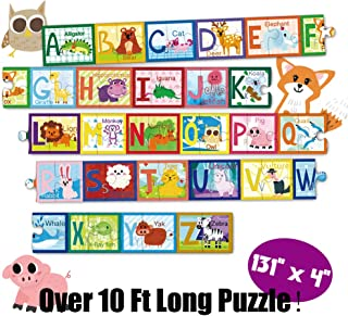 Kids Floor Puzzle 52-pcs Alphabet & Animals Jumblo Puzzle, 131x4 Inch, Perfect for prechsooler, Toddlers 3 4 5 6+