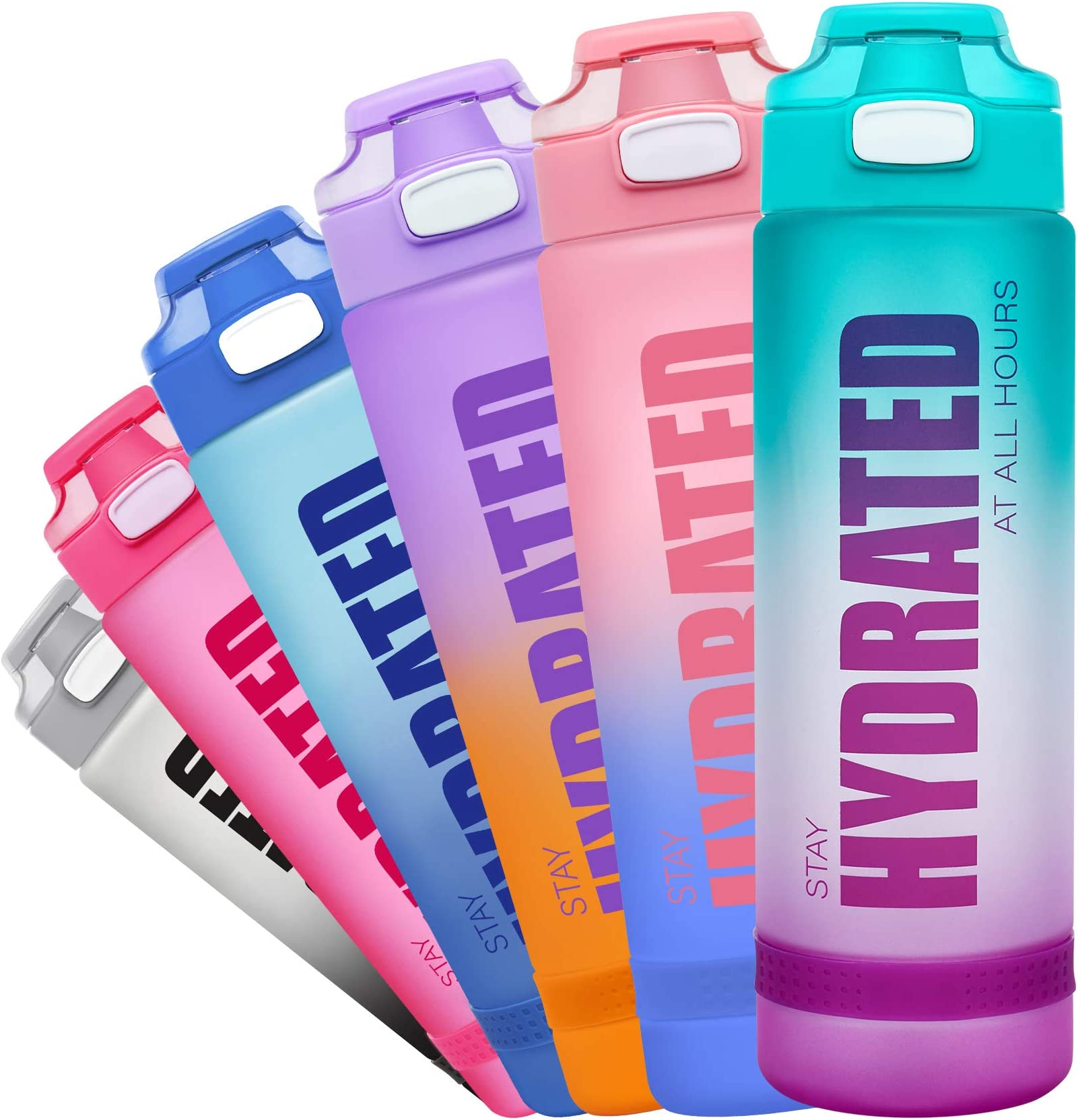 Fidus 32oz Motivational Water Bottle with Time Marker & Chug Lid, Leakproof BPA Free Tritan Wide Mouth, Ensure You Drink Enough Water Daily for Fitness and Outdoor Activity