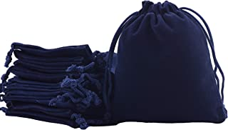 Sansam 50pcs Navy Drawstrings Velvet Bags for Jewelry, Gift, Wedding Favors, Candy Bags, Party Favors, 4.0x4.8''