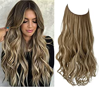 Wavy Curly Highlight Hair Extension Synthetic Halo Hairpiece Short 14 Inch 3.7 Oz Hidden Wire Headband Adjustable for Wome...