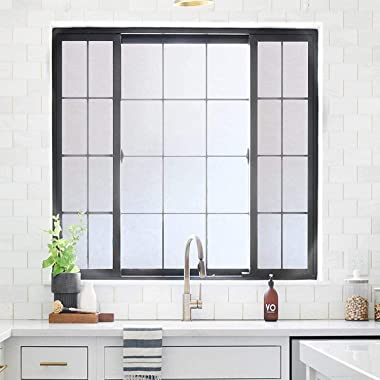rabbitgoo Window Privacy Film, Frosted Removable Glass Covering for Bathroom, Opaque Static Cling Heat Control Door Sticker f