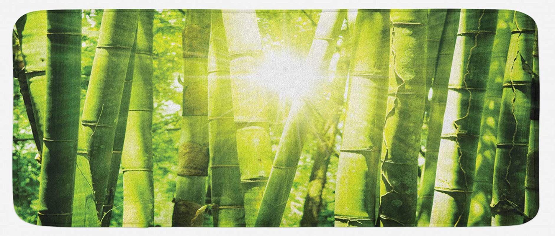 Ambesonne Asian Kitchen Mat Bamboo Forest With Morning Sunlight Sun Beams Through Trees Jungle Scene Plush Decorative Kithcen Mat With Non Slip Backing 47 X 19 Lime Green Yellow