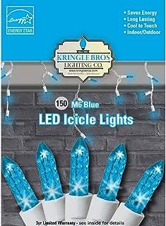 Maxx Flex Kringle Bros Blue - M6 Diamond Cut LED Icicle Christmas Lights - 150 Lights - 9.5 ft Long