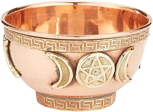 """new arrival Triple Moon Pentacle Copper Offering Bowl 3"""", Great for Altar use, sale Ritual use, Incense Burner, smudging Bowl, high quality Decoration Bowl, offering Bowl - New Age Imports, Inc. sale"""