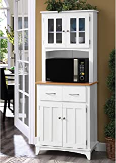 Home Source Industries Brook Tall Microwave Cabinet with 2-Drawer and an Upper and Lower Cabinet, White with Cherry Wood F...