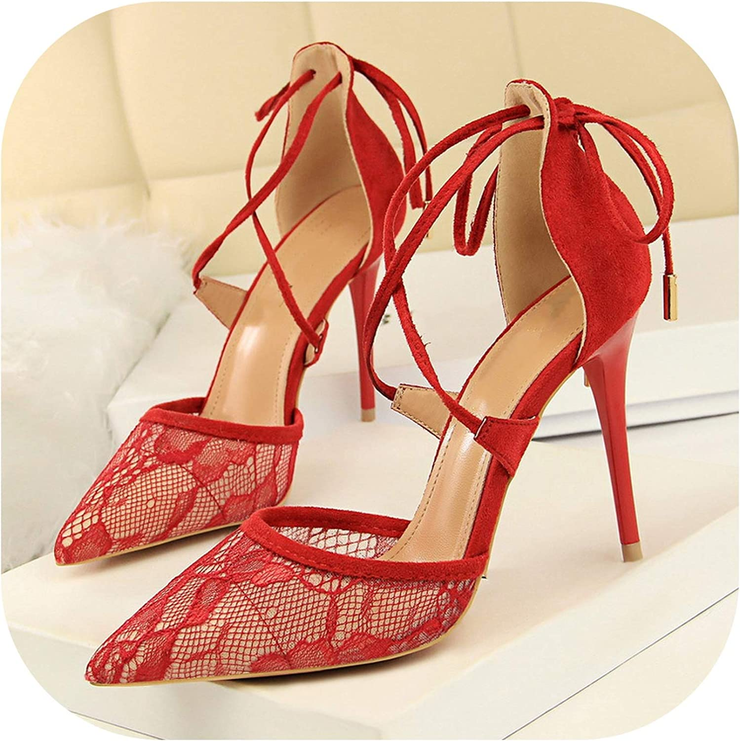 Style Sexy High-Heeled shoes with High-Heeled Shallow Mouth Pointed Mesh Lace Cross Strap Hollow Sandals .Ds-1627-6