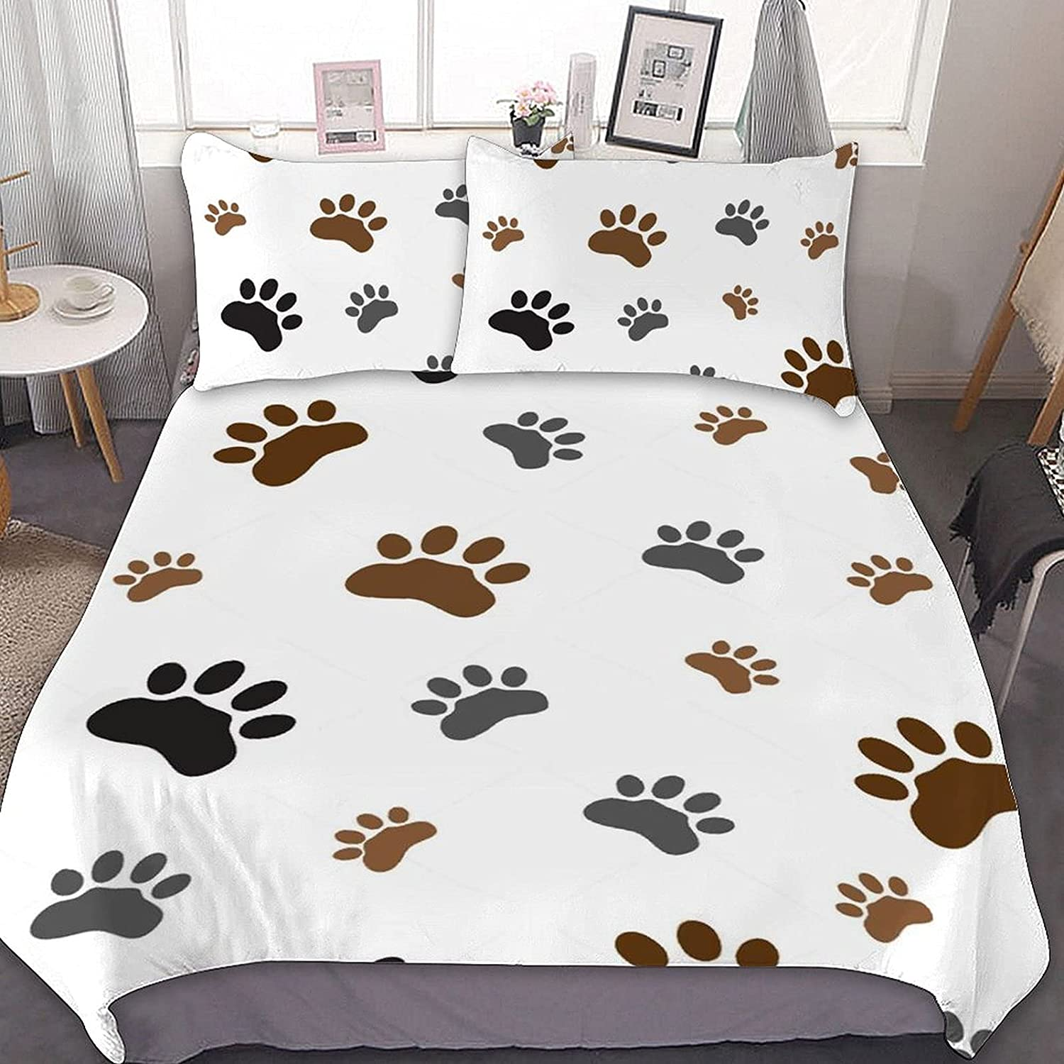 Atlanta Mall PNNUO Dog Paws Print Queen Bed Comforter King Size Set Ranking TOP18 Twin Full