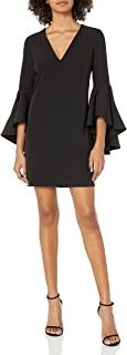 Milly Women's Italian Cady V-Neck Bell Sleeve Nicole Mini Dress