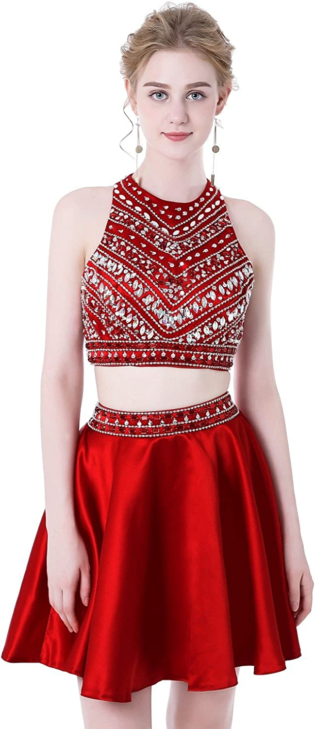 HEIMO Women's Sparkly Beaded Homecoming Dresses 2 Pieces Sequined Prom Gowns Short H256