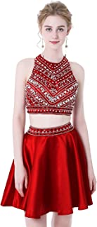 Women's Sparkly Beaded Homecoming Dresses 2 Pieces Sequined Prom Gowns Short H256