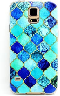BAISRKE Galaxy S5 Case, Clear TPU Silicone Gel Back Cover Skin Soft Case for Samsung Galaxy S5 i9600 Many Blue Lanterns Style