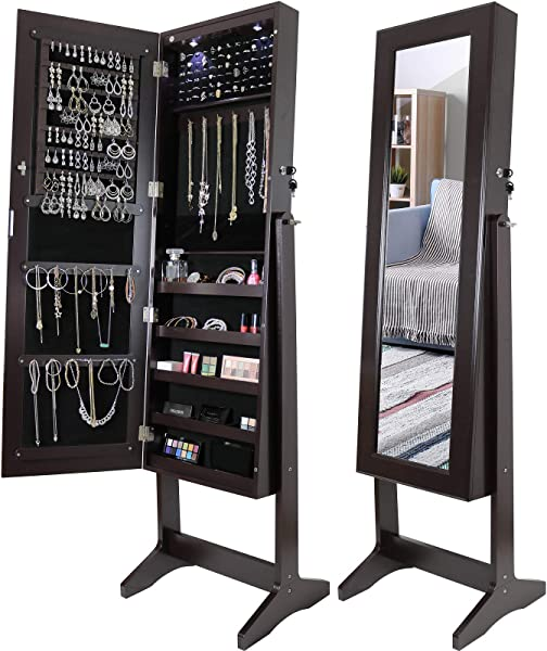 Greenco Free Standing Jewelry Organizer Armoire With Large Mirror And Led Lights Lockable Espresso
