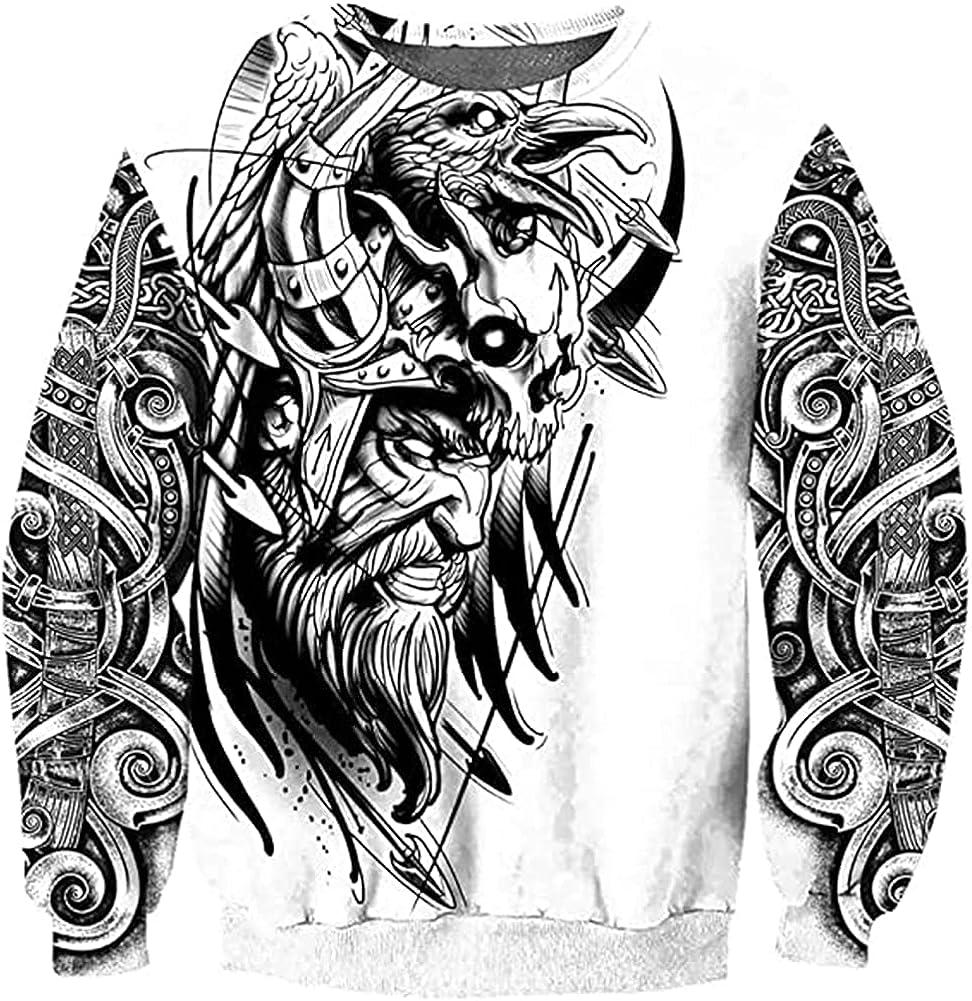 Viking Odin Crow Tattoo Men's Hoodie, 3D Printed Nordic Mythology Casual Sweatshirt Loose Jacket Fashion Couple Pullover