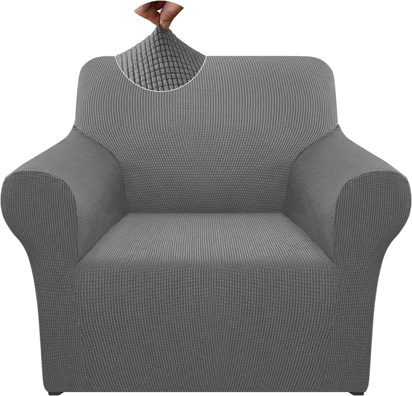 Pepibear High Stretch Armchair Cover 1 Piece Super Soft Thick Chair Cover Non Slip Sofa Slipcover Furniture Proctor with Foams and Elastic Bottom (Small, Light Gray)