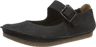 Clarks Womens Janey June Black Nubuck Shoes 9.5 US