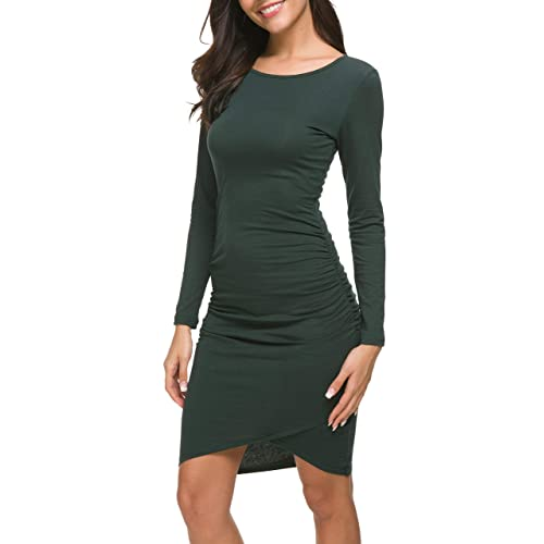 5483ff34ad886 Missufe Women's Casual Long Sleeve Ruched Bodycon Sundress Irregular Sheath  T Shirt Dress