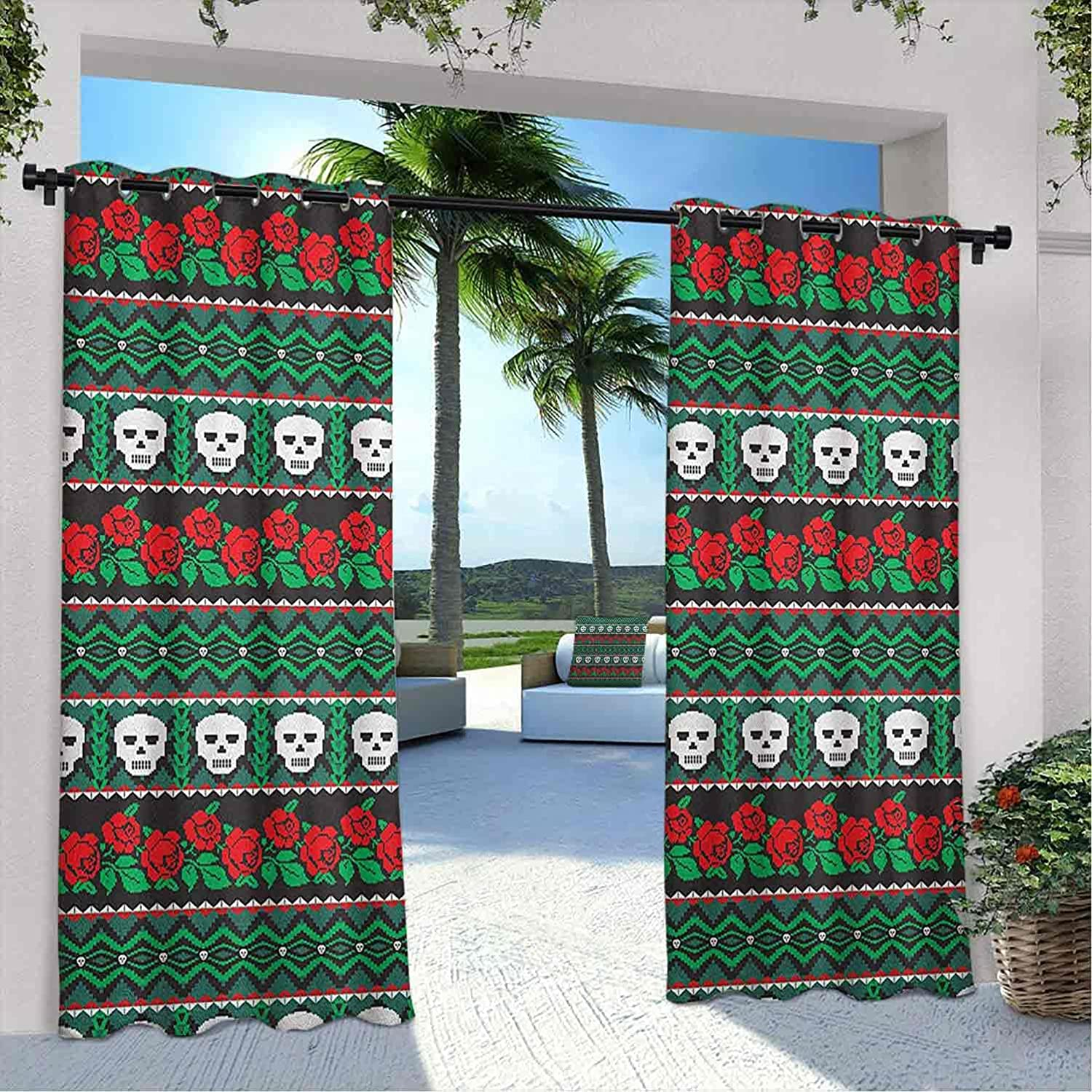 Terrace Outdoor Skull Ranking TOP18 Curtain Financial sales sale Mexican Roses Folkloric K and Art