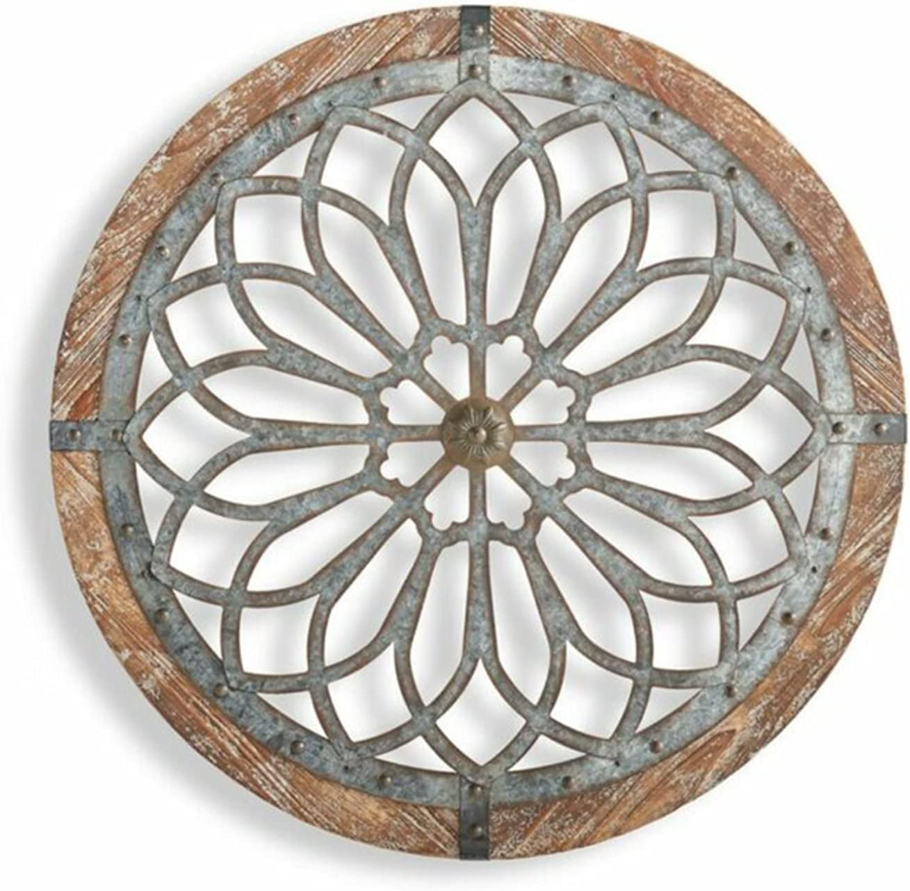 Aslion Flower Metal and Wood Art Deco Wall Decor, Heritage Round Wall Art Wooden Hanging Ornament Home Resturant Decoration