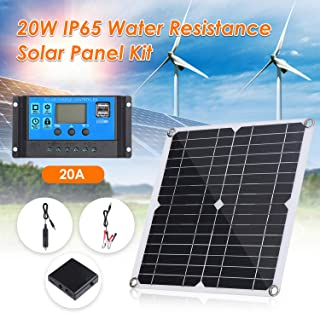 Honelife 20W DC 9V/18V Flexible Solar Panel with 20A LED Display Controller Kit Set with USB/Type C Interface & Car C-harg...