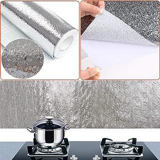 Papel de Aluminio Adhesivos de Pared, Autoadhesivo Anti- Aceite Aislante Térmico Película, Armario Pegatinas a Prueba de Humedad Cocina Almohadilla Extraíble para Cocina Habitación - 1#, 40cmx1m