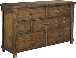 Ashley Furniture Signature Design - Lakeleigh Dresser - Casual - 7 Drawers - Rustic Brown Finish - Dark Zinc Hardware