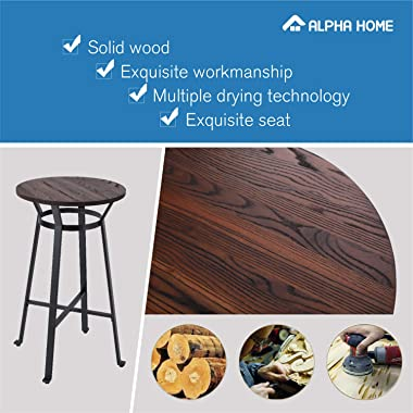 ALPHA HOME Bar Table Round Wood Top Sturdy Metal Frame Pub Bar Height Table for Bistro,Black