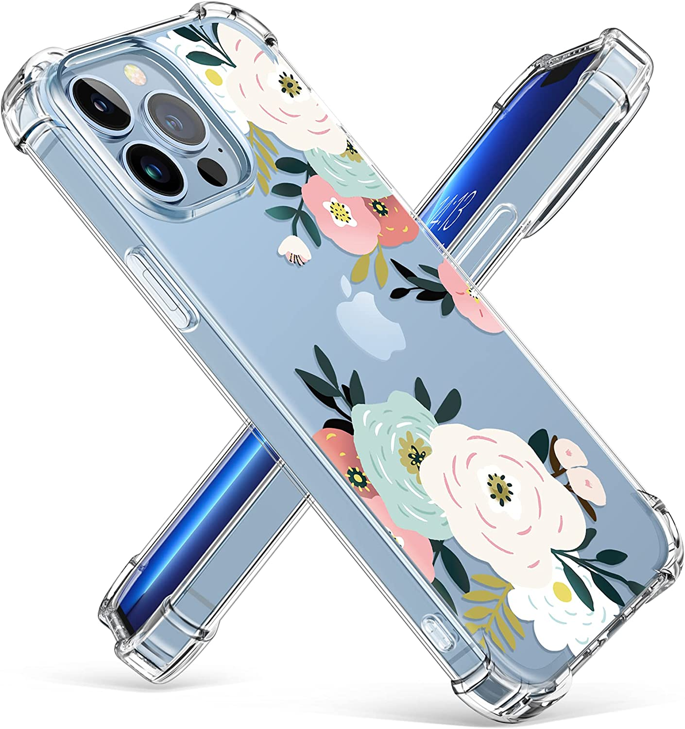 GVIEWIN Case Compatible with iPhone 13 Pro Max 6.7 Inch 2021, Clear Floral Soft & Flexible TPU Shockproof Protective Cover for Women Girls, Flower Pattern Design Phone Case (Abundant Blossom/White)