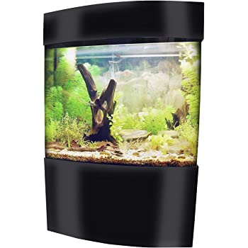 Vepotek 40-Gallon Acrylic Bowfront Aquarium Fish Tank with Black Base and Canopy, 59 in. x 31.5 in.