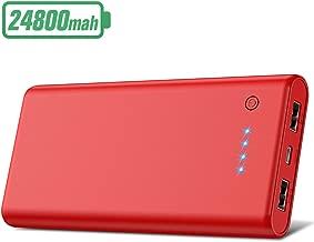 HETP Batterie Externe 24800mAh Haute Capacité Power Bank [Garantie 24 Mois] Portable Chargeur 2 Ports USB Sortie Haute Vitesse Batterie de Secours Compatible Tous Smartphones Tablettes USB Via Device