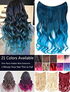 No Clips No Glue Invisible Big Wavy Hair Extensions Secret Ombre 2 Tone Natural Synthetic Hairpieces 24