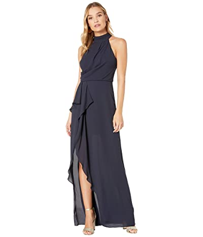 Halston Sleeveless Mock Neck Gown with Drape Front Detail (Dark Navy) Women