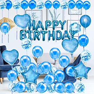 ANEAR Blue Birthday Decorations Party Supplies Set (50 PC), Balloons, Tassels, Banner, Dispensing, Pump for Birthday Party...