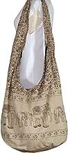 Thai Art Hippie Elephant Sling Crossbody Bag Purse Thai Top Zip Handmade New Color Light Brown.