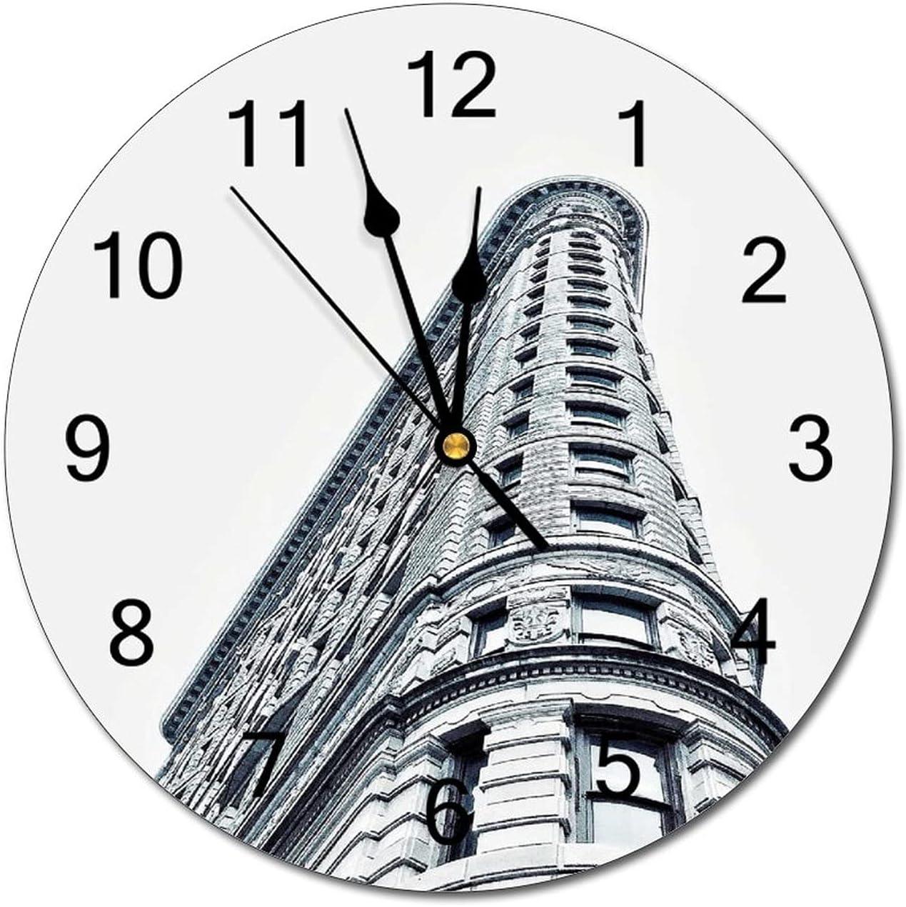 Anyuwerw Flatiron Building Wood Wall 12 Inch Mail order cheap Washington Mall Round Silent Clock