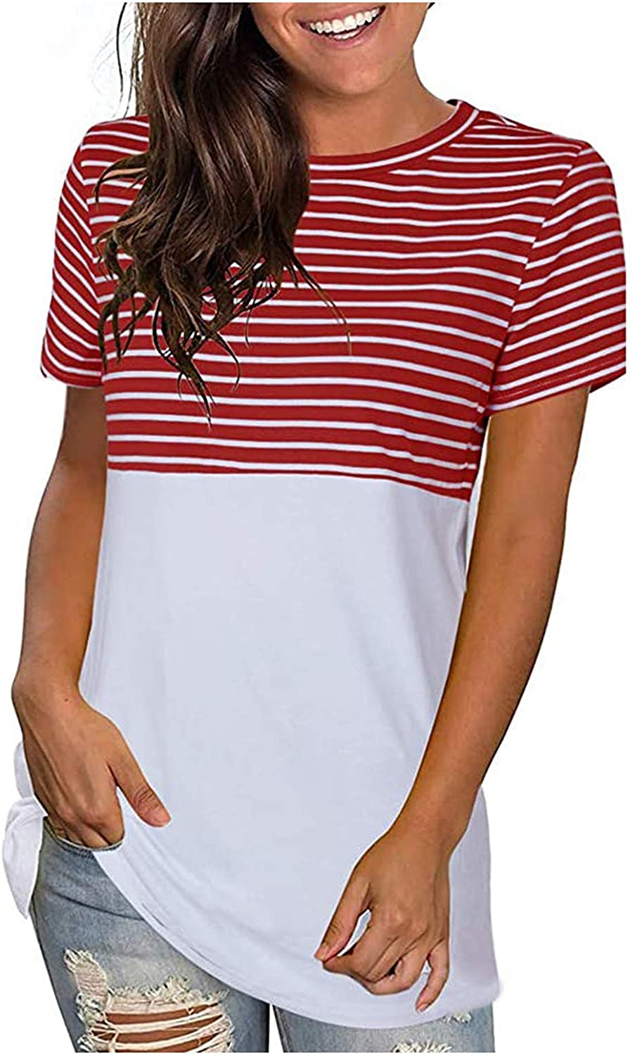 Stripe Tops For Womens O-neck Short Sleeve Basic Tee Splicing T-shirt Workout Tops Summer Tunic Tops
