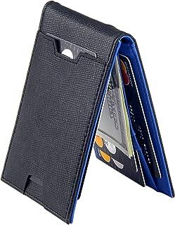 Men Bifold Wallet with Money Clip - Leather Minimalist Front Pocket RFID Blocking
