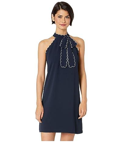 CeCe Sleeveless Tie Neck Halter Dress w/ Trim (Caviar) Women