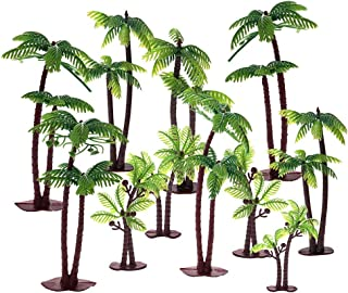 Uspeedy 18 Pieces Palm Tree with Coconuts Cake Topper Coconuts Tree Cupcake Topper for Cake Decorations or Building Model Landscape (6 Pcs/3 Size)