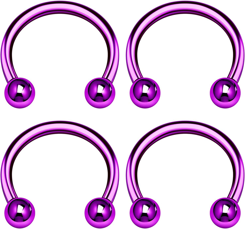 KJM FASHION 4PCS Horseshoe Earrings Ball Cartilage Septum Nose Tragus Earrings Eyebrow Piercing Jewelry Pick Size and Color