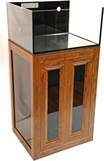 Innovative Marine Nuvo Lagoon 50 Gallon EXT External Overflow Aquarium and APS Aluminum Profile Series Stand - Wood Finish