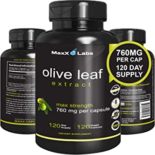 Best Olive Leaf Extract 750mg/120 Capsules - Super Strength Oleuropein Nature's Way to Support Immune System, Blood Pressu...