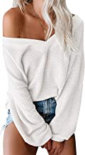 xuanyu Women's Off Shoulder Pullover Sweater Loose V Neck Long Sleeve Waffle Knit Tops