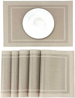 Lot de 6 Sets de Tables PVC Lavables Antidérapant Résistant à l'usure à la Chaleur, Facile à Nettoyer et Stocker,Napperons...
