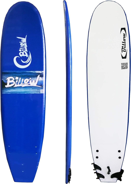 Billow Soft Surfboard Soft Board with Leash & Fins Foam Board (Dark blueee, 7ft)