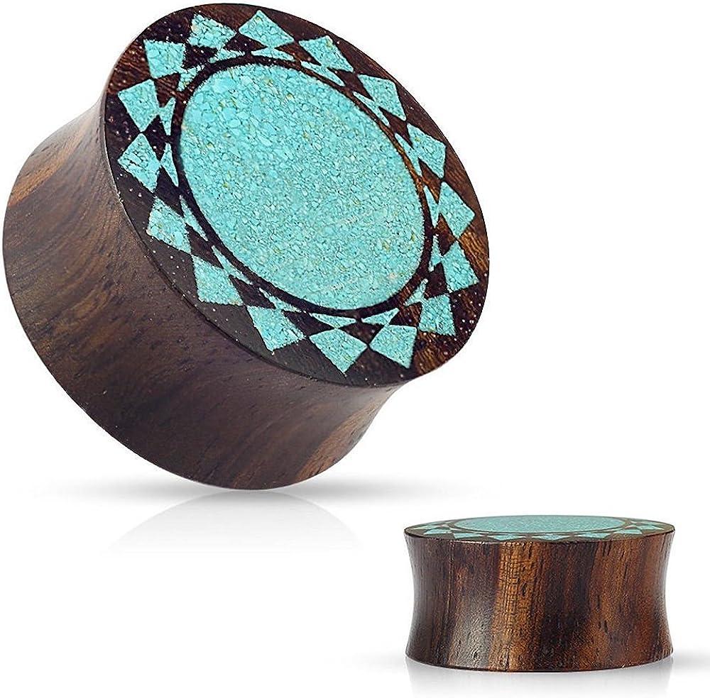Covet Jewelry Crushed Turquoise Tribal Sunburst Inlaid Organic Sono Wood Double Flared Saddle Plugs