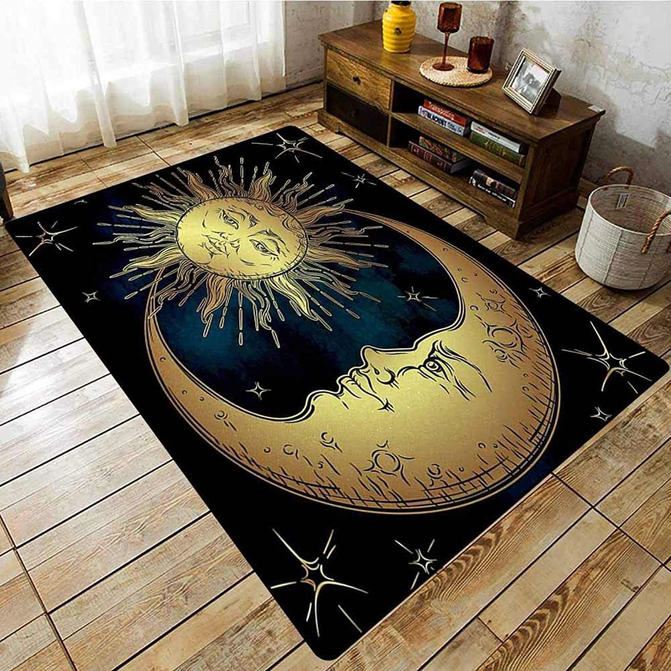 Classroom Rug,Psychedelic Sacred Moon and Sun in Antique Style Lunar Myth Astrology Zen Art Print,Extra Large Rug,3'3