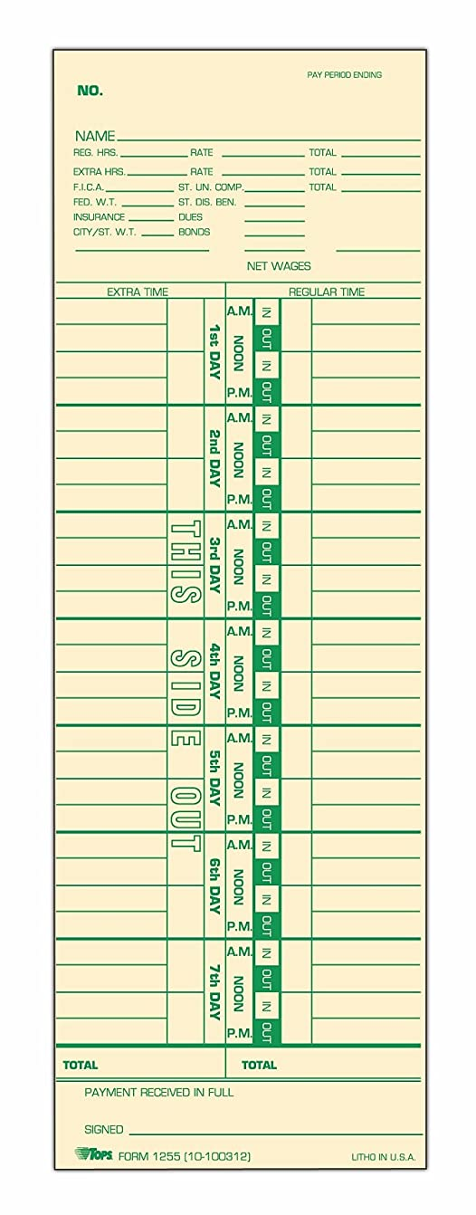 ネットキラウエア山道を作るTime Card for Cincinnati, Simplex, Weekly, 3-1/2 x 10-1/2, 500/Box (並行輸入品)